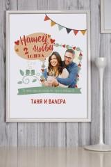 Постер в раме с Вашим текстом и фото Годовщина