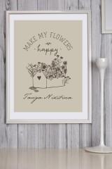 Постер в раме с Вашим именем «Happy flowers»