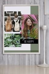 Постер в раме с Вашим текстом и фото Грини