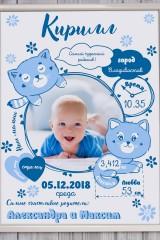 Постер в раме с Вашим текстом и фото Наш малыш