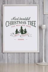 Постер в раме с Вашим текстом и фото «Лучшая елка»