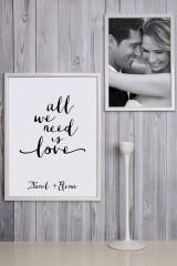 Набор постеров в рамах с Вашим текстом All we need is love