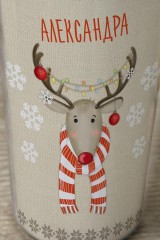 Термостакан с Вашим текстом Рождественский олень