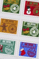 Набор наклеек новогодних на подарки Одобрено Дедом Морозом