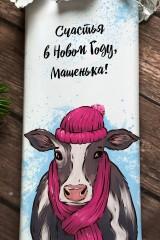 Шоколад с Вашим именем Корова в шарфике