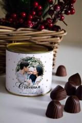 Банка шоколадных конфет с Вашим именем Новогодний фотоподарок
