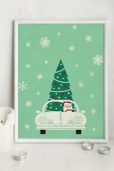 Постер в раме «Дед Мороз за рулём»