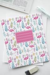 Тетрадь в линейку с косыми линиями Фламинго