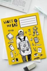 Тетрадь в линейку с косыми линиями «Что в моем рюкзаке»