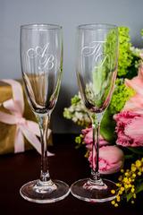 Набор бокалов для шампанского с вашим текстом Инициалы