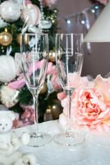Набор новогодних бокалов для шампанского с вашим текстом (длинные) «Счастья в новом году»