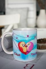 Кружка с вашим текстом «Птички»