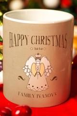 Кружка с вашим текстом Рождественский ангел