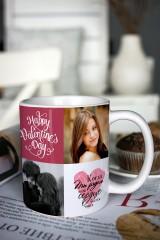 Кружка с вашим текстом «Романтичный фотоколлаж»