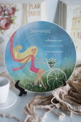 Тарелка декоративная с вашим текстом Велосипед