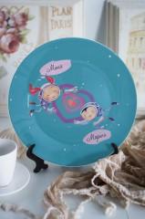 Тарелка декоративная с вашим текстом «Космонавты»