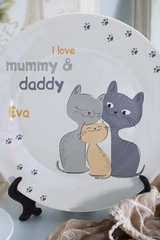 Тарелка декоративная с вашим текстом Семья котиков