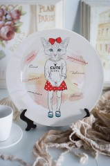 Тарелка декоративная с вашим текстом «Котик с бантиком»