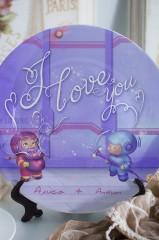 Тарелка декоративная с вашим текстом Осторожно, любовь