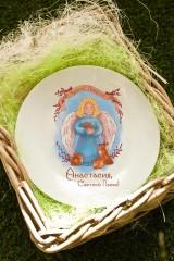 Тарелка декоративная с вашим текстом Ангел с кроликом
