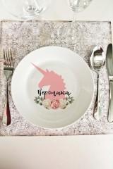 Тарелка декоративная с вашим текстом Цветочный единорог