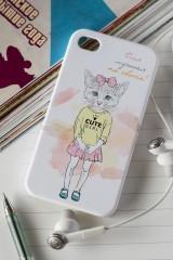 Чехол для iphone 4/4S с вашим текстом Котик с бантиком