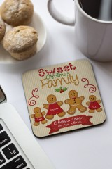 Подставка под кружку с Вашим текстом Пряничная семья