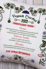 Подушка декоративная с Вашим именем Новогоднее меню