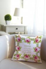 Подушка декоративная с Вашим именем Букет