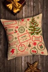 Подушка декоративная с Вашим именем Новогодние штампы