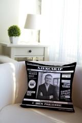 Подушка декоративная с Вашим именем Best man magazine