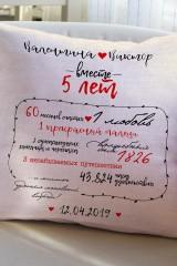 Подушка декоративная с Вашим именем Метрика любви2