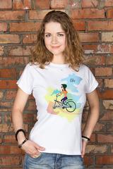 Футболка женская с вашим текстом Семья на велосипеде