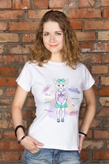 Футболка женская с вашим текстом «Котик с бантиком»
