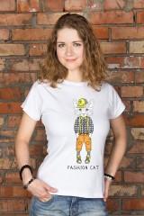 Футболка женская с вашим текстом «Стильный кот»