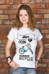 Футболка женская с вашим текстом «Bicycle»