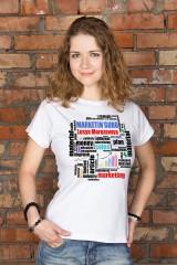 Футболка женская с вашим текстом «Подарок маркетологу»
