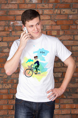 Футболка мужская с вашим текстом Семья на велосипеде