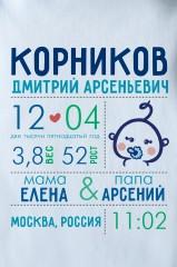Боди для малыша с вашим текстом Первая визитная карточка