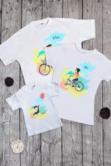 Футболка детская с вашим текстом Семья на велосипеде