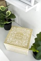Шкатулка для ювелирных украшений с вашим текстом Белый узор