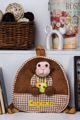 Рюкзак детский с именной вышивкой Обезьянка