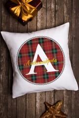 Подушка декоративная в именной вышивкой «Шотландская клетка»
