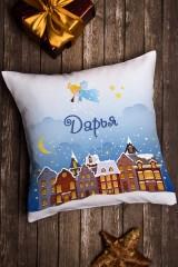 Подушка декоративная в именной вышивкой Рождество