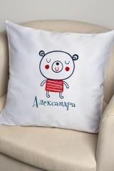 Наволочка декоративная с именной вышивкой Мишка