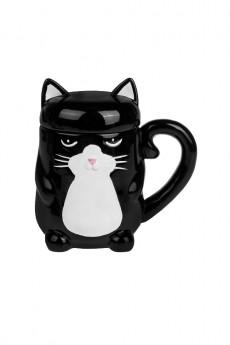 Кружка с крышкой «Серьезный котик»