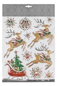Набор наклеек новогодних «Волшебные сани Деда Мороза и снежинки»