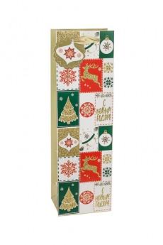 Пакет подарочный новогодний «Новогодний пачворк»