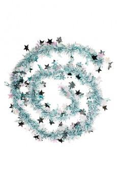 Мишура «Мишура, Дл=2м, Ш=7см, фольга блестящая, голубая, со звездочками»