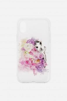 Чехол для айфона X «Ежик в цветах»